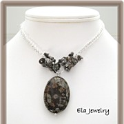 Chocolate Speckled Stone Pendant Necklace