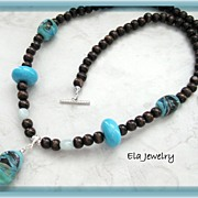 Long Necklace Featuring Artisan Lampwork and Dark Brown Wood Bead Necklace