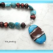 Artisan Lampwork Pendant with Freshwater Pearl and Blue Crazy Lace Agate Necklace