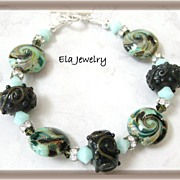 Artisan Lampwork in Shades of Green and Brown Bracelet
