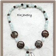 Silver Charm with Amazonite and Pietersite Necklace