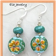 Artisan Lampwork in Green and Orange Earrings
