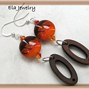Artisan Lampwork in Orange and Brown with Wood Link Earrings
