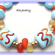 Light Blue, Red, and Orange Artisan Lampwork with Glass Bead Bracelet