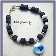 Artisan Lampwork Charm with Cobalt Blue Glass Bracelet