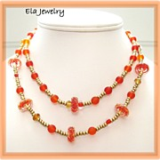 Two Strand Red and Orange Glass and Seed Bead Necklace