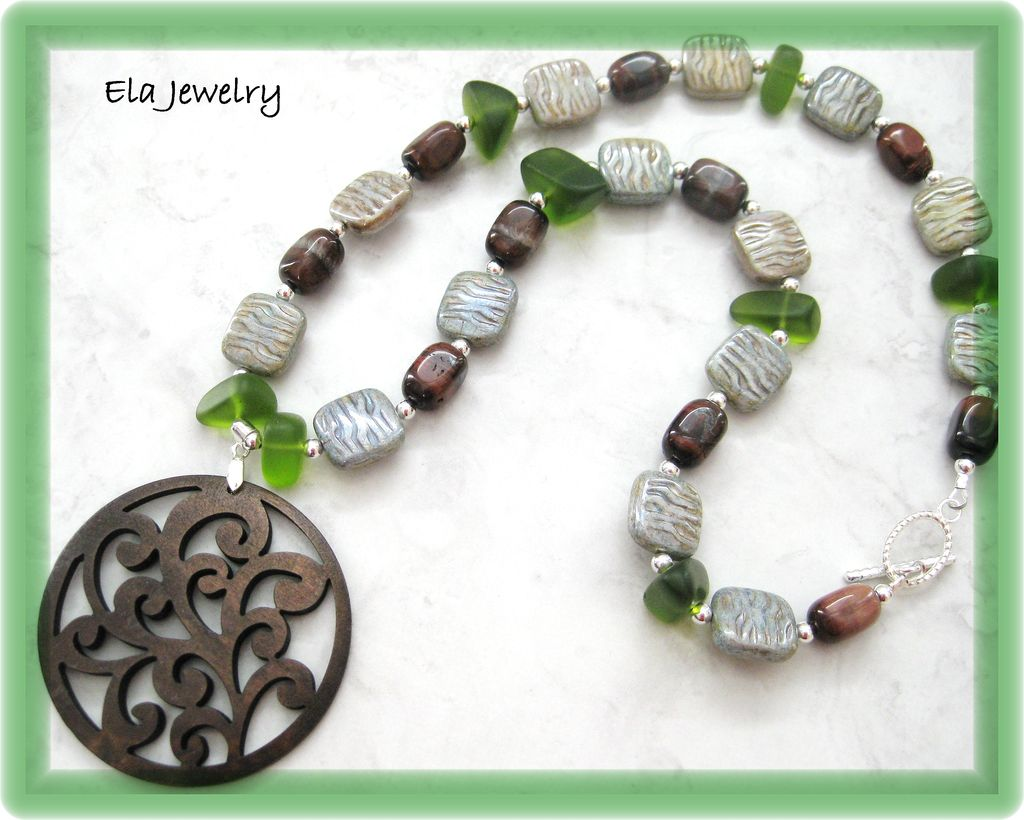 Carved Dark Wood Pendant with Green Sea Glass Red Tiger Eye and Green Glass Bead Necklace