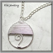 Fun Silver Hand Wired Design Circle Pendant Necklace