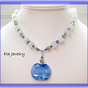 Spectacular Artisan Lampwork Pendant in Blues with Sea Glass Necklace