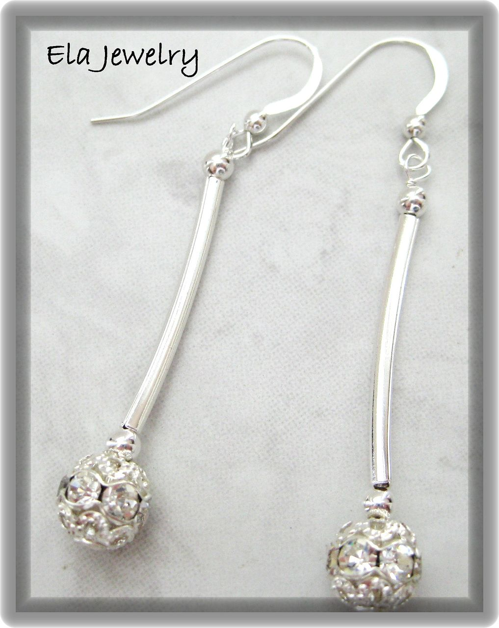 Silver Tube with Crystal Studded Earrings