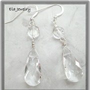 Crystal Delight ~ Crystal Glass Tear Drop Earrings
