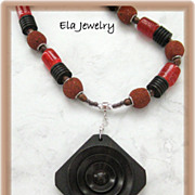 Dark Wood Diamond Shaped Pendant with Red Glass and Brown Wood Bead Necklace