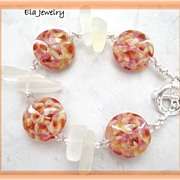 Springtime Colors ~ Artisan Lampwork in Pinks and Oranges with Sea Glass Large Chip Bracelet