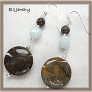Amazonite and Pietersite Gemstone Earrings