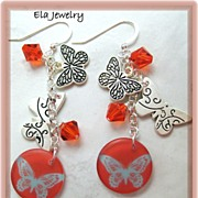 Butterfly Charm with Swarovski Crystal and Resin Charm Earrings