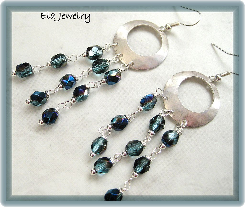 Long Dangle Earrings in Brushed Silver and Blue Fire Polish Glass Beads