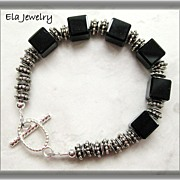 SOLD Bracelet & Earring Set ~ Black Glass Cube with Silver Daisy Bead Bracelet