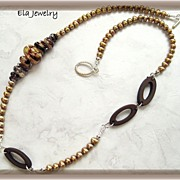 Artisan Lampwork with Freshwater Pearl and Acrylic Ring Necklace in Gorgeous Shades of Brown