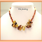 Honey Glass Nuggets with Carnelian Pebble Necklace