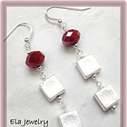 Brushed Silver Cube with Ruby Red Faceted Bead Earrings