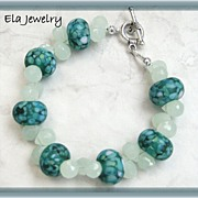 Dark Green Matte Artisan Lampwork and Faceted Tear Drop Glass Bracelet