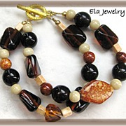 Two Strand Shades of Brown Glass Bracelet