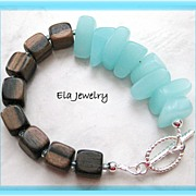 Asymmetrical Bracelet in Wood Cubes and Sea Glass Nugget Bracelet