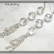 ~ Elegance ~ Crystal Faceted Glass Bead with Silver Chain Earrings