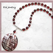 Red and Silver Foil Oval Pendant with Red Glass Beaded Necklace