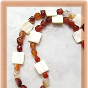 Cream Shell Pendant with Red Agate Pebble Bead Necklace