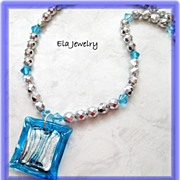 Blue and Silver Art Glass Pendant Necklace