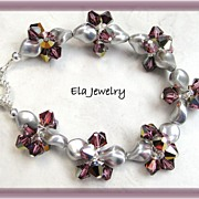 Silver Swarovski Crystal Pearls with Dark Pink Crystal Bracelet