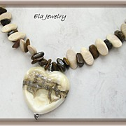 Cream and Brown Artisan Lampwork Heart Pendant Necklace