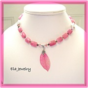 Pink Leaf Glass Pendant with Pink Rectangle Glass and Swarovski Crystal Necklace