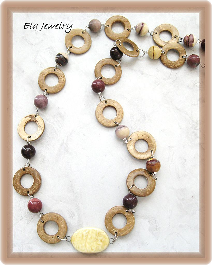 Long Necklace Featuring Wood, Porcelain, and Moukaite Gemstones