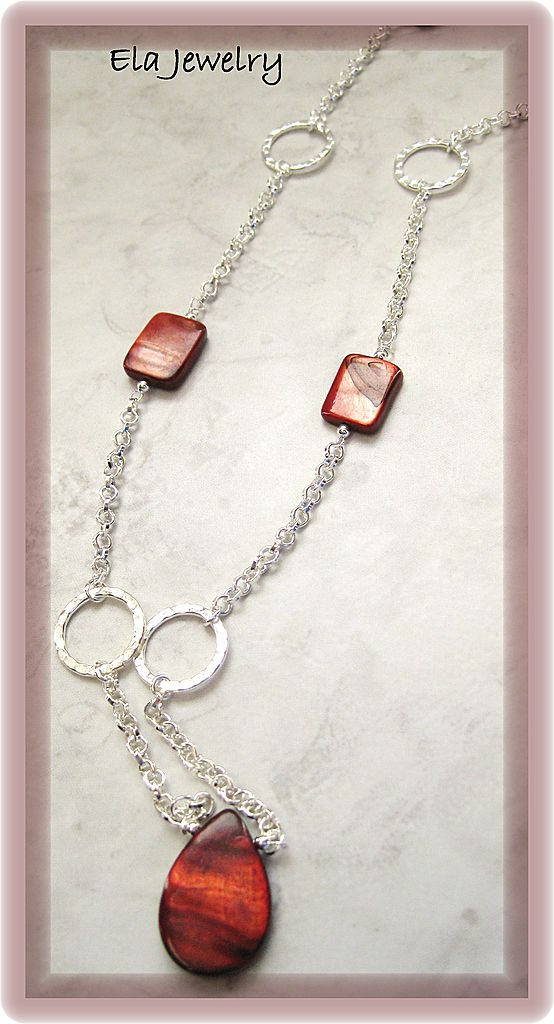 Long Necklace in Silver Chain with Red Mother of Pearl Bead Necklace