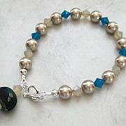 Artisan Lampwork Bead with Swarovski Pearls and Crystals Bracelet
