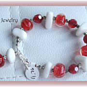 Fun Sparkling Red Lampwork Glass with White Sea Glass Bracelet