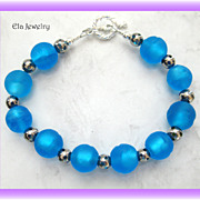 Dark Blue Matte Glass Beaded Bracelet