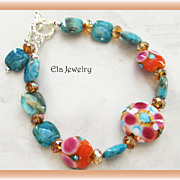 Bountiful of Colors!! Artisan Lampwork Beads with Turquoise and Sparkling Crystal Bracelet
