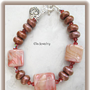 Artisan Lampwork in Blush Shades with Swarovski Crystal Bracelet