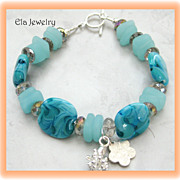 Light Blue Artisan Lampwork with Sea Glass Bracelet