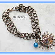 Copper Chain with Swarovski and Copper Charm Bracelet