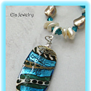 One of a Kind Artisan Pendant with Swarovski Pearls and Sea Glass Necklace
