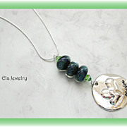 Artisan Lampwork Trio with Silver Pendant Necklace on Silver Chain