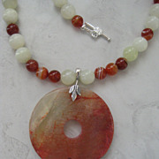 Jade Circle Pendant with Carnelian and Sea Foam Green Jade Beaded Necklace