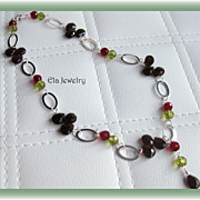 Red and Green Briolette Glass Beads with Silver Oval Links Necklace