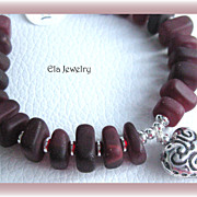 Dark Burgundy Sea Glass and Heart Charm Bracelet