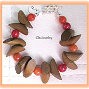 Light Brown Wood and Carnelian Bead Bracelet