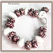 Chocolate and Vanilla ~ Artisan Lampwork and Sea Glass Bracelet